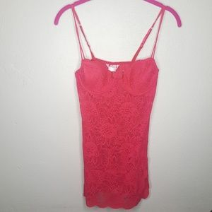 34B Victoria's Secret Red Chemise Lace Dress Tee B